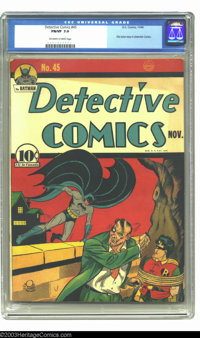 Detective Comics #45 (DC, 1940) CGC FN/VF 7.0 Off-white to white pages. First Joker story in Detective Comics. Overstree...