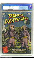 "Golden Age (1938-1955):Science Fiction, Strange Adventures #1 (DC, 1950) CGC FN+ 6.5 Off-white pages.Adaptation of ""Destination Moon""; preview of movie with photo ..."