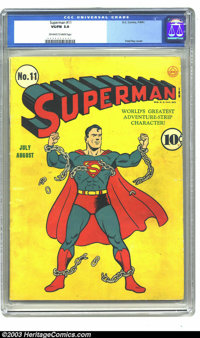 Superman #11 (DC, 1940) CGC VG/FN 5.0 Off-white pages. Fred Ray cover. Solid mid-grade copy of this early issue. Overstr...