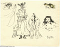Original Comic Art:Sketches, Frank Frazetta - Original Illustration, Cowboy/Nude/Dracula (undated). Several genres are covered in this fun pen-and-ink sk...