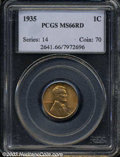 Lincoln Cents: , 1935 MS66 Red PCGS. ...