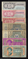 Military Payment Certificates: , Seven Military Payment Certificates Series 461 5¢, Extremely ... (7 notes)