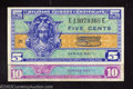 Military Payment Certificates: , Two Military Payment Certificate Series 521 5¢, About ... (2 notes)