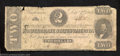 Confederate Notes:1862 Issues, 1862 $2 Judah P. Benjamin, T-54, Good-Very Good. A few small ...