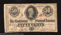 Confederate Notes:1863 Issues, 1863 50 Cents Bust of Jefferson Davis, T-63, Fine-Very Fine. A ...