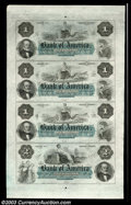 Obsoletes By State:Rhode Island, Uncut Sheet $1-$1-$1-$2 Bank of America, Providence, RI, ...