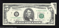 Error Notes:Gutter Folds, 1977 $5 Federal Reserve Note, Fr-1974-G, Very Fine. A broad ...
