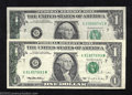 Error Notes:Error Group Lots, A Pair of Circulated (both Very Fine) $1 FRN Errors, including ...(2 notes)
