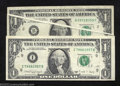 Error Notes:Error Group Lots, 1977 & 1988A--Two Circulated (both Fine to VF) $1 FRN Errors,... (2 notes)