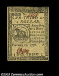 Colonial Notes:Continental Congress Issues, Continental Currency February 17, 1776 $1/3 Gem New. A ...