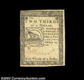 Colonial Notes:Continental Congress Issues, Continental Currency February 17, 1776 $2/3 Choice About New....