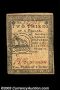 Colonial Notes:Continental Congress Issues, Continental Currency February 17, 1776 $2/3 Choice Extremely ...