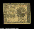 Colonial Notes:Continental Congress Issues, Continental Currency September 26, 1778 $20 Extremely Fine.