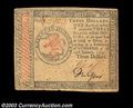 Colonial Notes:Continental Congress Issues, Continental Currency January 14, 1779 $3 Extremely Fine. A ...