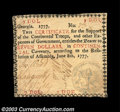 Colonial Notes:Georgia, Georgia June 8, 1777 $7 Choice Extremely Fine. This is the ...