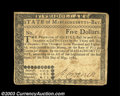 Colonial Notes:Massachusetts, Massachusetts May 5, 1780 $5 Very Fine. Fully signed and ...