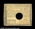 Colonial Notes:New Hampshire, New Hampshire April 29 1780 $4 Extremely Fine. A fully ...