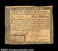 Colonial Notes:New Hampshire, New Hampshire April 29, 1780 $5 Extremely Fine. Uncanceled ...