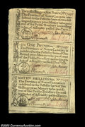 Colonial Notes:North Carolina, North Carolina December 1771 Uncut Sheet of Three Gem New. ...