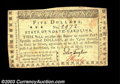 Colonial Notes:North Carolina, North Carolina May 15, 1779 $5 Choice Very Fine. Very well ...