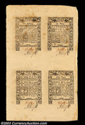 Colonial Notes:Rhode Island, Rhode Island May 1786 Uncut Sheet of Four Choice New. The ...