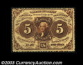 Fractional Currency:First Issue, Fr. 1229 5c First Issue Choice New. This no-monogram Five ...