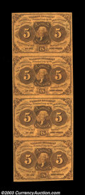 Fractional Currency:First Issue, Fr. 1230 5c First Issue Vertical Strip of Four Choice New. ...