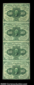Fractional Currency:First Issue, Fr. 1242 10c First Issue Vertical Strip of Four Extremely ...