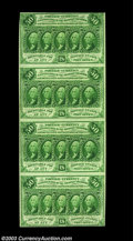 Fractional Currency:First Issue, Fr. 1312 50c First Issue Vertical Strip of Four Very Choice ...
