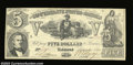 Confederate Notes:1861 Issues, T37 $5 1861. There are several light folds on this note ...