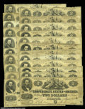 Confederate Notes:1862 Issues, Specialized Grouping of T42 $2s. This large specialized ... (22notes)