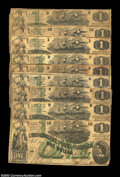 Confederate Notes:1862 Issues, Varied T45 $1s with Different Plate Positions. This ... (9 notes)