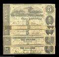 Confederate Notes:1863 Issues, T59 $10 1863 (2), T60 $5 1863 (3). Five pieces, three