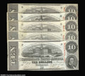 Confederate Notes:1863 Issues, T59 $10 1863. A group of five notes, all cut cancelled, ... (5notes)