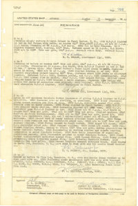 """Pearl Harbor 1941 Log Entry of the USS Antares signed by six officers of the stores issue ship, two pages, 10"""" x 15..."""
