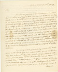 "Autographs:U.S. Presidents, James Monroe Autograph Letter Signed ""James Monroe,"" 1.25 pages, 8"" x 9.75"", front and verso. Oak Hill, January 18, 1829. In..."