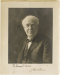 "Autographs:Inventors, Thomas Edison Photograph Inscribed and Signed ""To George C.Osborn / Thos A Edison"". A handsome 8"" x 10"" sepia portrait ..."