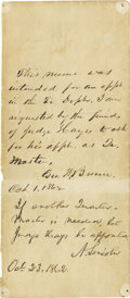 """Autographs:U.S. Presidents, Abraham Lincoln Autograph Note Signed """"A. Lincoln"""", onepage, 3.25"""" x 7.75"""", n.p., October 23, 1862. Here President Linc..."""