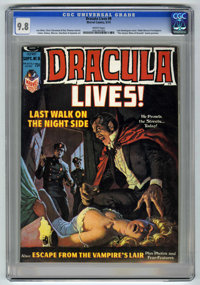 Dracula Lives! #8 (Marvel, 1974) CGC NM/MT 9.8 White pages. Luis Dominguez cover. Gene Colan, Paul Gulacy, Pablo Marcos...