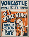 "Movie Posters:Adventure, If I Were King (Paramount, 1938). Locally Printed Jumbo Window Card(22"" X 28""). Historical Adventure. Starring Ronald Colma..."
