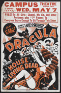 "House of the Living Dead Stage Show (Unknown, 1942). Locally Printed Jumbo Window Card (17"" X 26""). Horror. Th..."