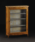 Furniture: French, A Nineteenth Century Louis XVI Style Marble-Top Vitrine. Unknownmaker, French. Nineteenth Century. Satinwood, marble. Unm...
