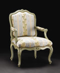 Furniture: French, A French Louis XV-style Fauteuil. Unknown maker, French. Twentiethcentury. Painted wood, upholstery. Unmarked. 37.25 inch...
