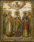 Decorative Arts, Continental:Other , A Large Finely Executed Russian Icon. Unknown. Russian, Circa 1800.Oil and gold leaf on wood panel. 28 inches x 22.5 inch...
