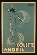 Prints:European Modern, An Art Deco Poster. Pierre Thiriot (b.1904). French, Circa 1922. 46inches x 30.5 inches. Theatre poster with stylized o...