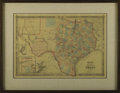 Other:Western, A Map of Texas in 1864. Hand colored engraving published by Johnsonand Ward. New York. 1864. 18 inches x 25 inches. Map...