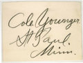 "Autographs:Celebrities, Cole Younger, Large Bold Signature written in pencil on a 4.25"" x3.25"" leaf [tipped to a card], ""Cole Younger St. Paul, ..."