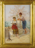 Fine Art - Painting, European:Modern  (1900 1949)  , A Pair of Italian Genre Paintings, Roma. Luigi Olivetti,Italian. Circa 1926. Watercolor on paper. Signed and titled:...