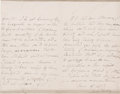 "Autographs:Authors, Mary W. Shelley Autograph Letter Signed, nd, declining a request tomake an engraving from an unfinished portrait of ""Mr. Sh..."