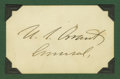 """Autographs:Military Figures, Spendid Ulysses S. Grant Autograph Card, 3.25"""" x 2"""", signed """"U.S. Grant General"""". A large, bold signature with a minima..."""